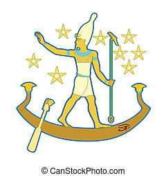 Pharaoh in the boat - Egyptian pharaoh in a boat floating in...