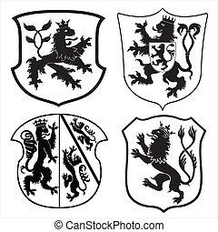 Heraldic lions and shields - Medieval coat of arms with...