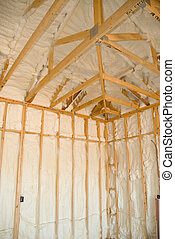 New home insulation - A room at a newly constructed home is...