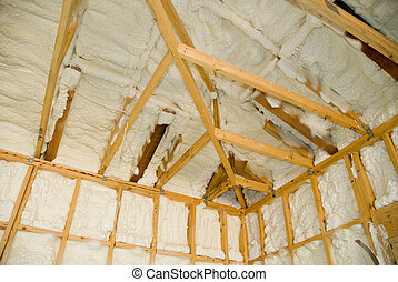 Newly sprayed insulation - A room at a newly constructed...