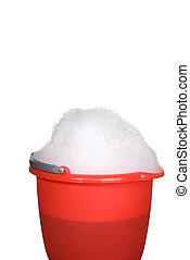 Bucket of suds - A bucket of suds is ready for use to clean...