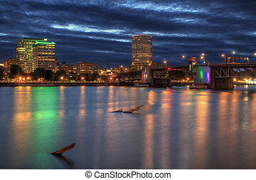 Morrison Bridge over Willamette River Portland Oregon at...