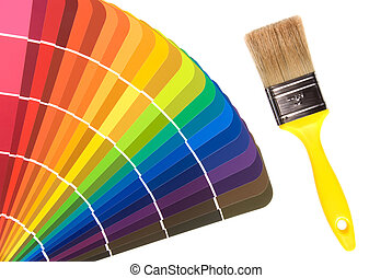 Paint color cards and brush