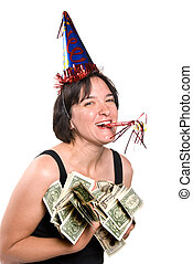 Holiday bonus - Woman celebrates at a New Years party by...