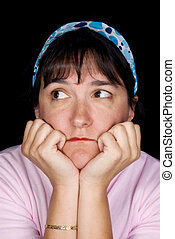 Woman wonders about life - Woman pondering life. She is set...