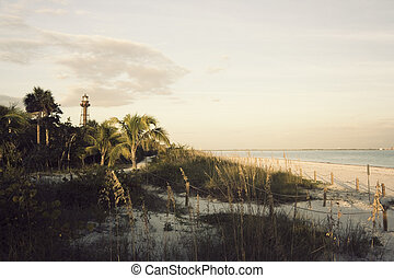 Sanibel Lighthouse - late afternoon on the beach