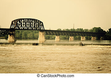 Falls of the Ohio State Park - Ohio River between Kentucky...