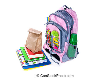 Book bag and lunch - Elementary school student's book bag,...