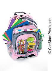 Pink book bag is filled with a student's school supplies