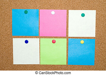 Post a note clipping path - Six colored sticky post a note...