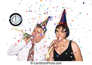 New Years Eve Celebration - Couple celebrates a happy New...