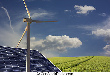renewable energy - renewable energies concept with solar...