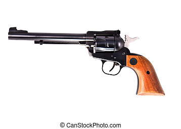 Old six shooter - Old antique six shooter sits cocked and...