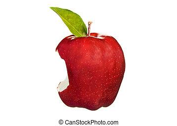 mordedura, manzana, rojo