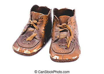 Bronzed baby shoes - A pair of old bronzed baby shoes from...