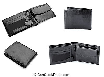 black leather wallet finance money - collection of various...