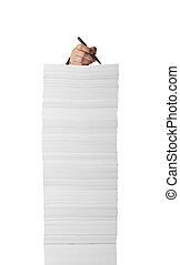 stack of papers documents office business writing - close up...