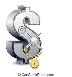 Dollar Safe - illustration of safe in shape of dollar locked...