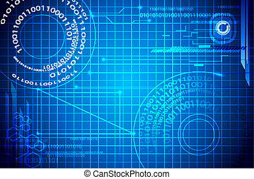 Techno Binary Background - illustration of blue abstract...