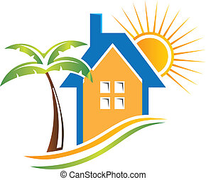 Bungalow with sun and palm