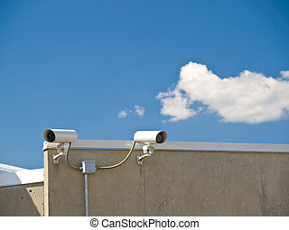 Security Cameras Performing Surveillance on the Side of a Building