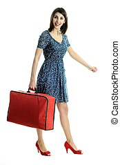 Nice woman with bag - An image of nice young woman with red...