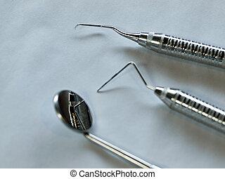 Set of Metal Medical Equipment for Dental Care