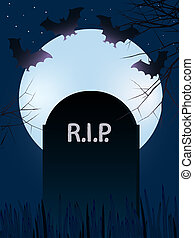 Gravestone with bats - Gravestone with Rest In Peace with...
