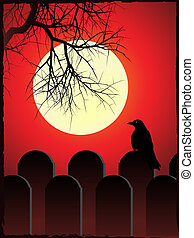 Spooky graveyard - Graveyard with black crow perched on...