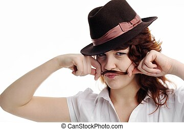 girl with moustaches - An image of a girl makes moustaches...