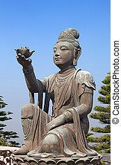 Bodhisattva statue located in Po Lin Monastery, Lantau...