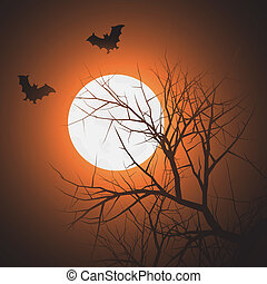 Bats at night time - Silhouette of tree and bats in the sky...