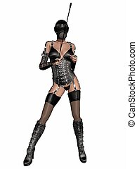 Sexy fetish woman in lingerie - 3d render of a sexy fetish...