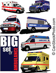 Big set of Modern ambulance van Colored vector illustration