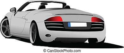 Silver  car cabriolet on the road. Vector illustration
