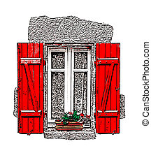 Red shuttered window on white - A vector illustration of a...