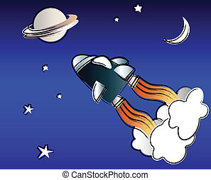 Space travel - A vector illustration of a spaceship in space...