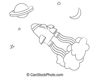 Spaceship colouring - A vector illusrtaion of a spaceship in...