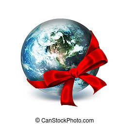 world as a gift - red ribbon around the planet - abstract...