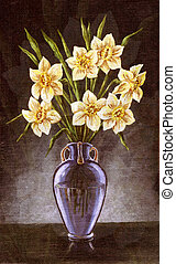 Narcissuses in vase - Flowers narcissuses in a glass vase,...