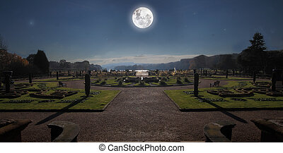 Moonlit Garden - The gardens at Trentham, Staffordshire,...