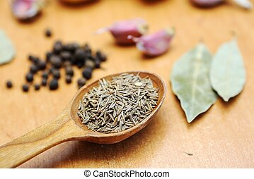 Cumin - An image of a spoon with cumin seeds