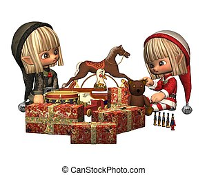 Christmas Elves - wrapping presents - Two cute Christmas...