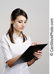 Woman with notepad