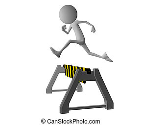 3d character jumping roadblock - 3d character jumping over a...