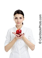 Girl with apple - An image of young woman holding red apple
