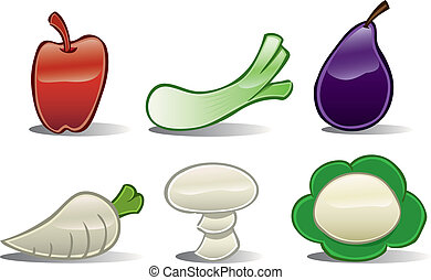 Vegetable Icons Basic #2 - A set of six basic shaped...