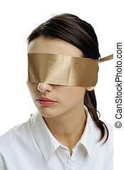 Blindfold - An image of woman in white with a blindfold