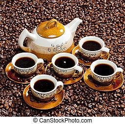 todavía, vida, café, tazas, cafetera