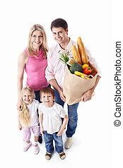 Healthy lifestyle - Happy family with food on a white...